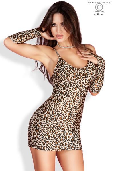 Exotisches Minikleid mit sexy Gepardenmuster, Chilirose CR3156