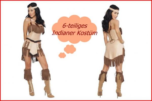 Indianer Kostüm 6teilig - sexy Indianerkostüm - Squaw