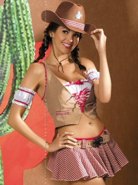 Cowgirl Cow-Girl Kostüm 8-teilig Gr. S/M